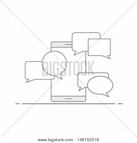 Concept of communication via SMS and e-mail on a mobile device. Speech bubble on the background of your phone. Vector illustration in linear style isolated on white background