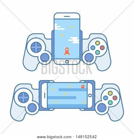 Gamepad for your phone. Accessories for mobile devices allows you to play video games. Joystick for entertainment. Vector illustration in a linear style isoalted on white background
