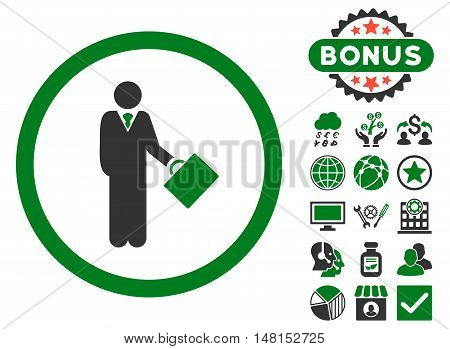 Businessman icon with bonus elements. Vector illustration style is flat iconic bicolor symbols green and gray colors white background.