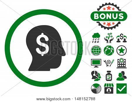 Businessman icon with bonus symbols. Vector illustration style is flat iconic bicolor symbols green and gray colors white background.