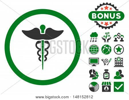 Caduceus icon with bonus pictogram. Vector illustration style is flat iconic bicolor symbols green and gray colors white background.