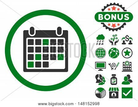 Calendar Appointment icon with bonus images. Vector illustration style is flat iconic bicolor symbols green and gray colors white background.