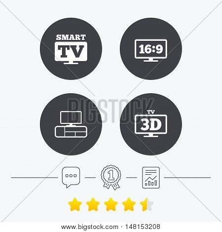Smart TV mode icon. Aspect ratio 16:9 widescreen symbol. 3D Television and TV table signs. Chat, award medal and report linear icons. Star vote ranking. Vector
