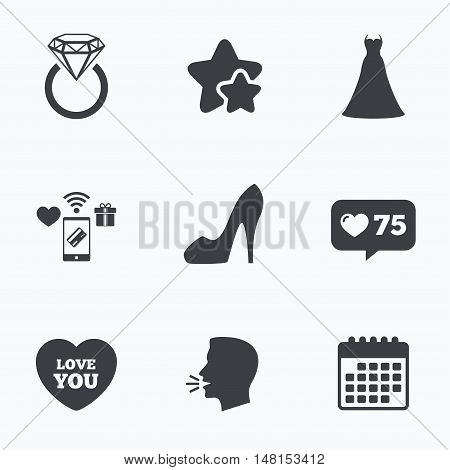 Wedding dress icon. Women's shoe and love heart symbols. Wedding or engagement day ring with diamond sign. Flat talking head, calendar icons. Stars, like counter icons. Vector