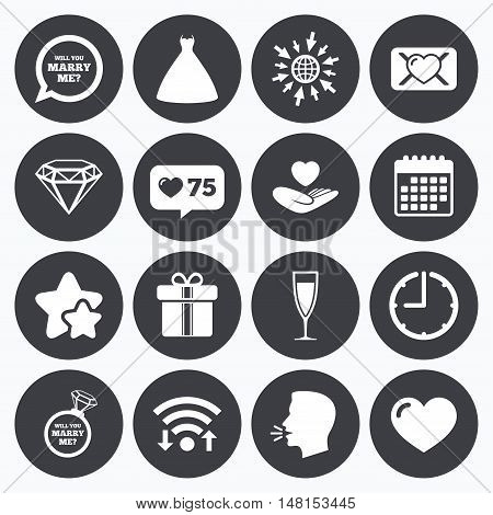 Calendar, wifi and clock symbols. Like counter, stars symbols. Wedding, engagement icons. Love oath letter, gift box and brilliant signs. Dress, heart and champagne glass symbols. Talking head, go to web symbols. Vector