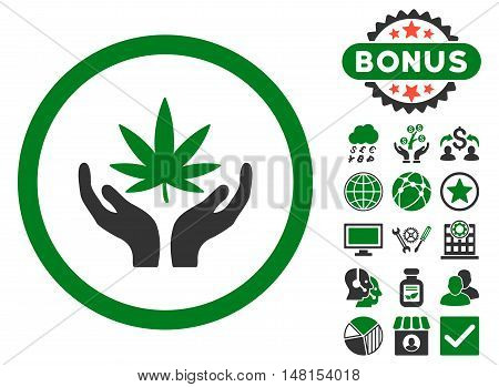 Cannabis Care Hands icon with bonus design elements. Vector illustration style is flat iconic bicolor symbols green and gray colors white background.