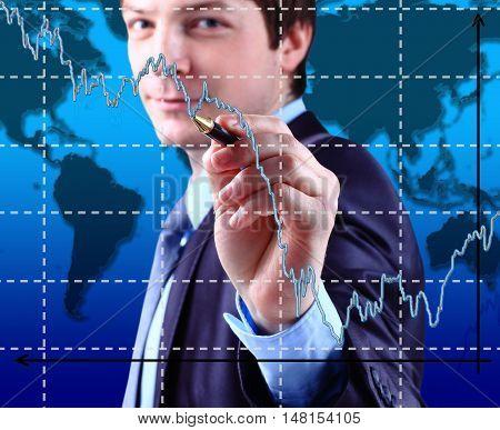 Business Man write graph on transparent digital screen