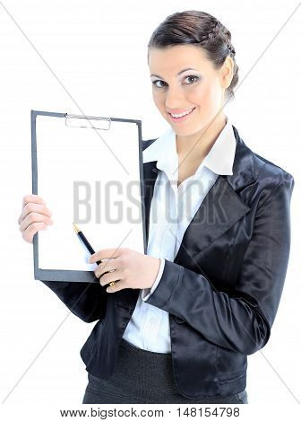 Portrait of a pretty young business lady with the work plan smiling. Isolated on a white background.