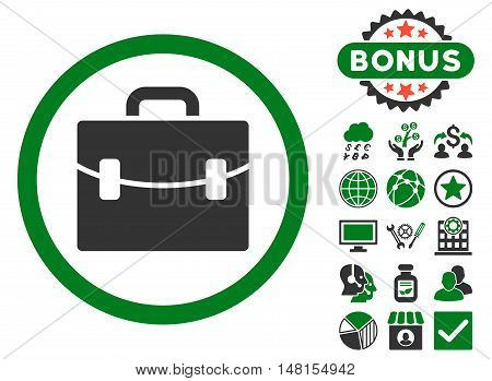 Case icon with bonus elements. Vector illustration style is flat iconic bicolor symbols green and gray colors white background.