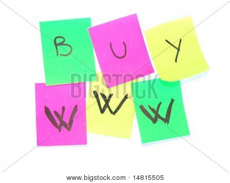 sticky notes, postit isolated on white background in many colors