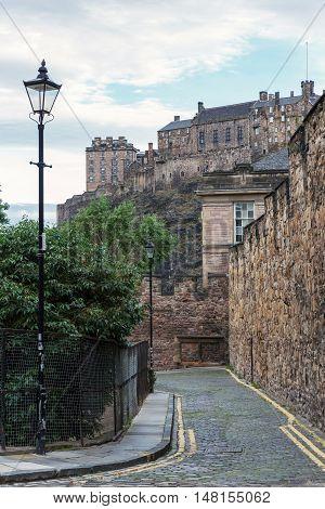 Road In Edinburgh With View To Edinburgh Castle