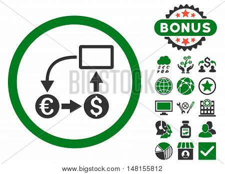 Cashflow Euro Exchange icon with bonus design elements. Vector illustration style is flat iconic bicolor symbols green and gray colors white background.