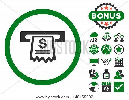 Cashier Receipt icon with bonus design elements. Vector illustration style is flat iconic bicolor symbols green and gray colors white background.