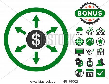 Cashout icon with bonus pictures. Vector illustration style is flat iconic bicolor symbols green and gray colors white background.