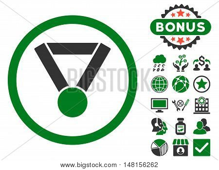Champion Award icon with bonus symbols. Vector illustration style is flat iconic bicolor symbols green and gray colors white background.