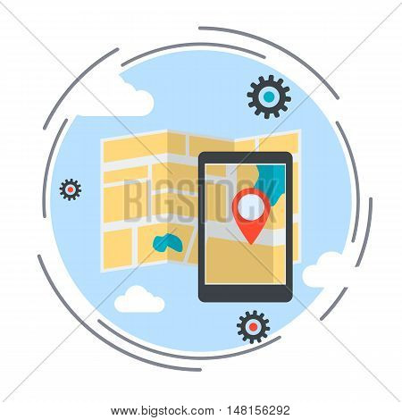 Location map, route, navigation service flat design style vector illustration