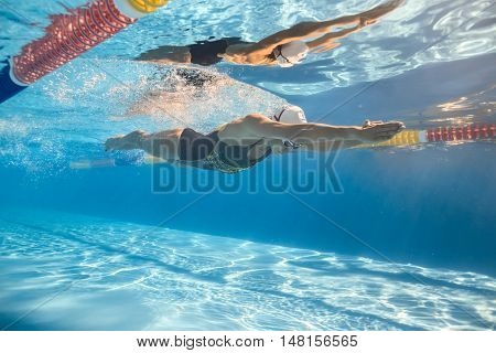 Women swim in the swim pool outdoors. One girl swims in crawl style underwater. She wears a swimsuit, a swim cap and swim glasses. Her body reflected in water surface. Sunlight falls from above.