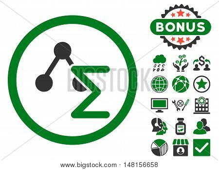 Chemical Formula icon with bonus images. Vector illustration style is flat iconic bicolor symbols, green and gray colors, white background.