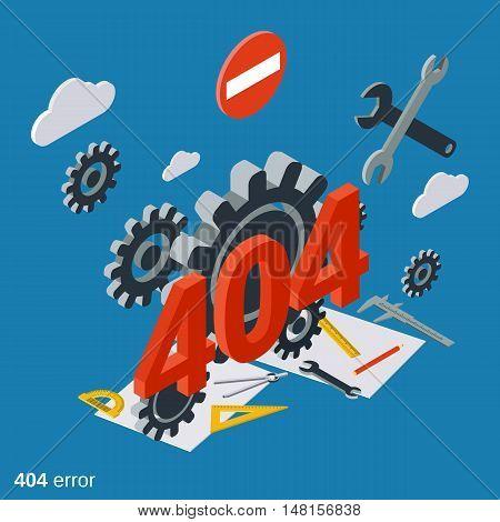 404 error page flat isometric vector concept illustration