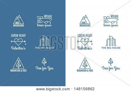 six trend vector logo of the hipster style