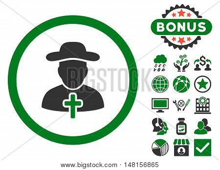 Clergy icon with bonus pictogram. Vector illustration style is flat iconic bicolor symbols, green and gray colors, white background.