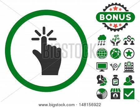 Click icon with bonus symbols. Vector illustration style is flat iconic bicolor symbols, green and gray colors, white background.