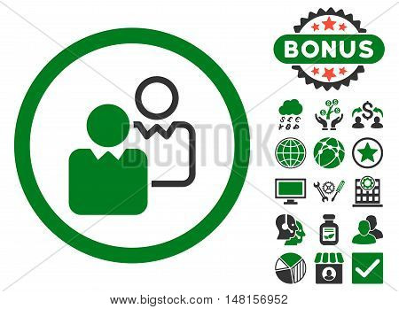 Clients icon with bonus pictogram. Vector illustration style is flat iconic bicolor symbols, green and gray colors, white background.