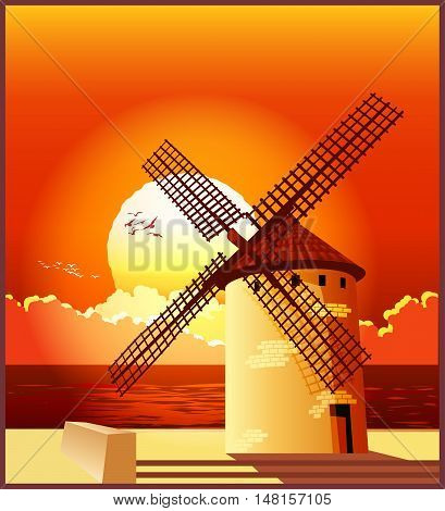 Vector illustration of a windmill on the shore at sunset.