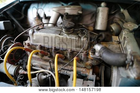 MALAYSIA - August 15, 2016: A classic car Mini Austin 850 engine sits in the compartment.