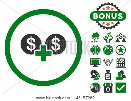 Coins Sum icon with bonus pictogram. Vector illustration style is flat iconic bicolor symbols, green and gray colors, white background.