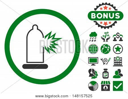 Condom Damage icon with bonus design elements. Vector illustration style is flat iconic bicolor symbols, green and gray colors, white background.