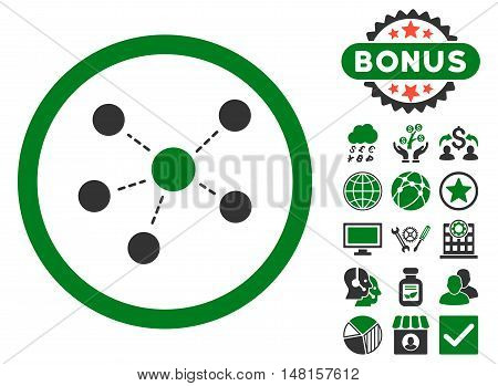 Connections icon with bonus design elements. Vector illustration style is flat iconic bicolor symbols, green and gray colors, white background.
