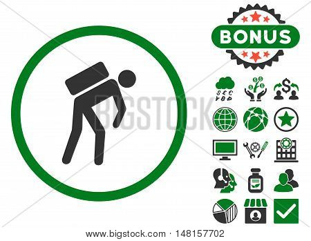 Courier icon with bonus symbols. Vector illustration style is flat iconic bicolor symbols, green and gray colors, white background.
