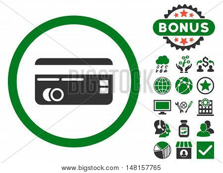 Credit Card icon with bonus symbols. Vector illustration style is flat iconic bicolor symbols, green and gray colors, white background.