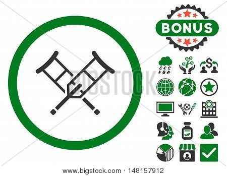 Crutches icon with bonus pictures. Vector illustration style is flat iconic bicolor symbols, green and gray colors, white background.