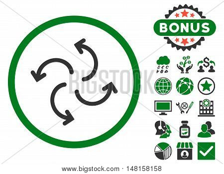 Cyclone Arrows icon with bonus elements. Vector illustration style is flat iconic bicolor symbols, green and gray colors, white background.