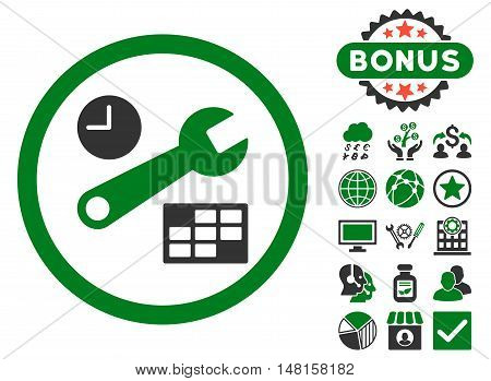 Date and Time Setup icon with bonus pictures. Vector illustration style is flat iconic bicolor symbols, green and gray colors, white background.