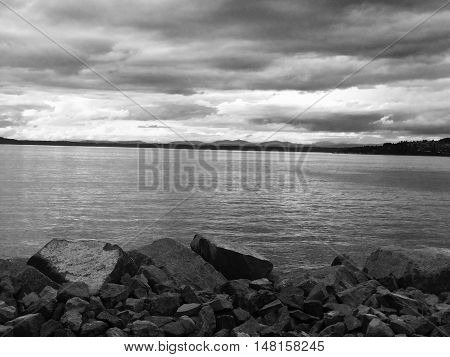 Black and white waterscape on th Puget Sound.