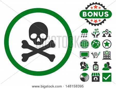 Death icon with bonus images. Vector illustration style is flat iconic bicolor symbols, green and gray colors, white background.