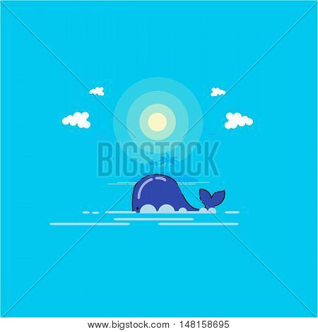 Whale nature Vector art outline illustration landscape