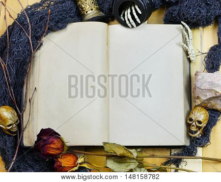 Halloween image of an old book with blank pages surrounded by spooky artifacts such as miniature skulls dead flowers minerals twigs and skeleton hands. Copy space.