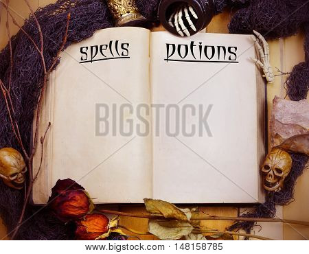 Halloween image of an old book with pages titled for spells and potions surrounded by artifacts like skulls dead flowers minerals twigs and skeleton hands. Copy space. Vintage filter applied.