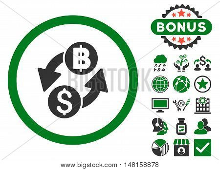 Dollar Baht Exchange icon with bonus pictogram. Vector illustration style is flat iconic bicolor symbols, green and gray colors, white background.