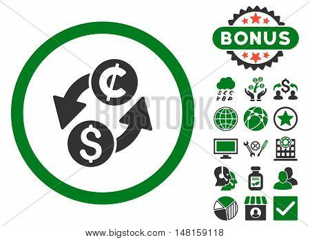 Dollar Cent Exchange icon with bonus symbols. Vector illustration style is flat iconic bicolor symbols, green and gray colors, white background.