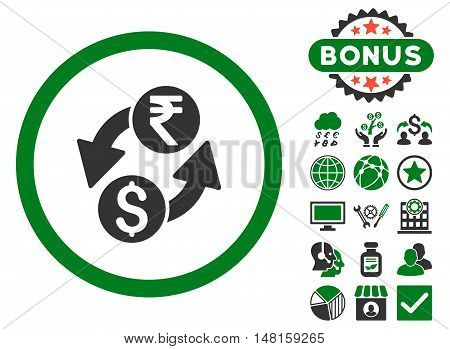Dollar Rupee Exchange icon with bonus design elements. Vector illustration style is flat iconic bicolor symbols, green and gray colors, white background.