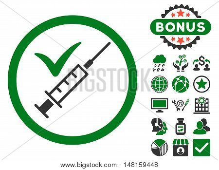 Done Vaccination icon with bonus pictures. Vector illustration style is flat iconic bicolor symbols, green and gray colors, white background.