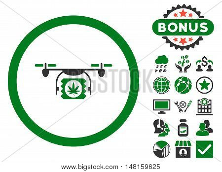 Drugs Drone Shipment icon with bonus pictures. Vector illustration style is flat iconic bicolor symbols, green and gray colors, white background.