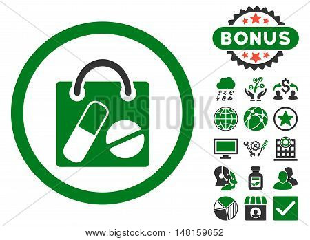 Drugs Shopping Bag icon with bonus design elements. Vector illustration style is flat iconic bicolor symbols, green and gray colors, white background.