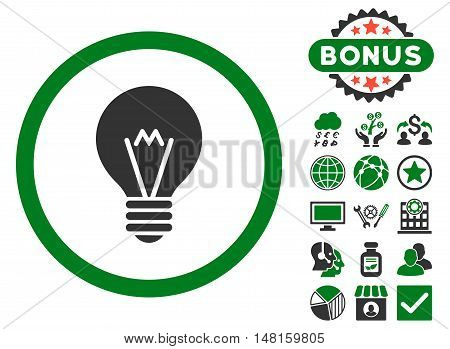 Electric Bulb icon with bonus symbols. Vector illustration style is flat iconic bicolor symbols, green and gray colors, white background.