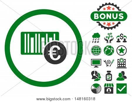 Euro Barcode icon with bonus pictures. Vector illustration style is flat iconic bicolor symbols, green and gray colors, white background.
